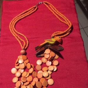 Island wooden jewelry!in orange